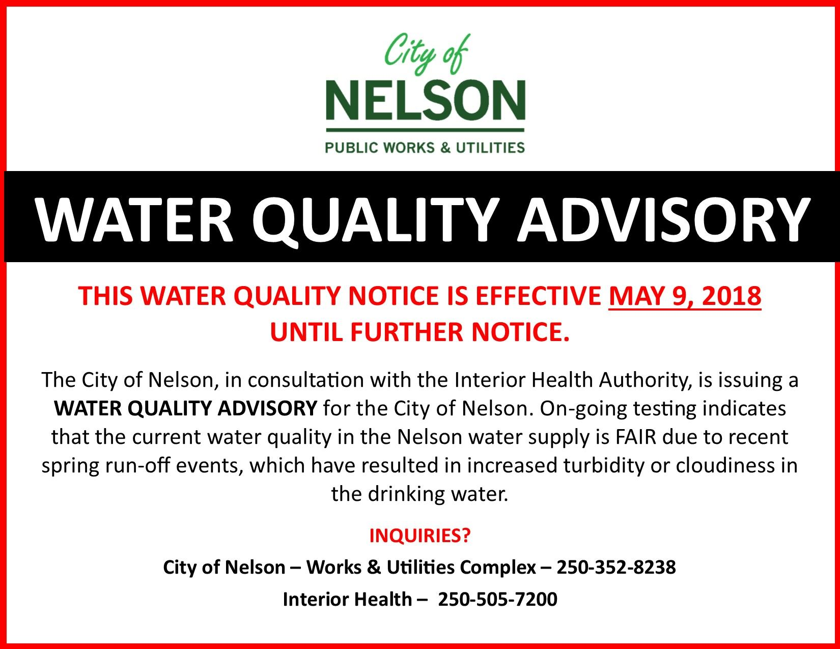 Water Quality Advisory May 8 2018